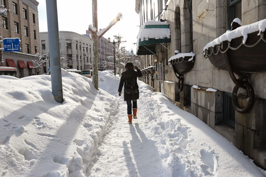 Walking on Snow in Otaru City