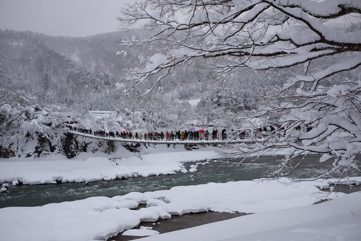 Deai Bridge Shirakawa-go in Winter