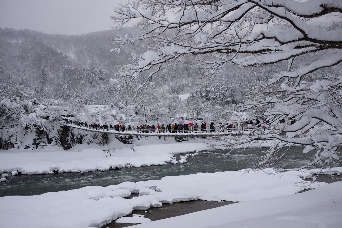 Deai Bridge Shirakawa-go in Winter