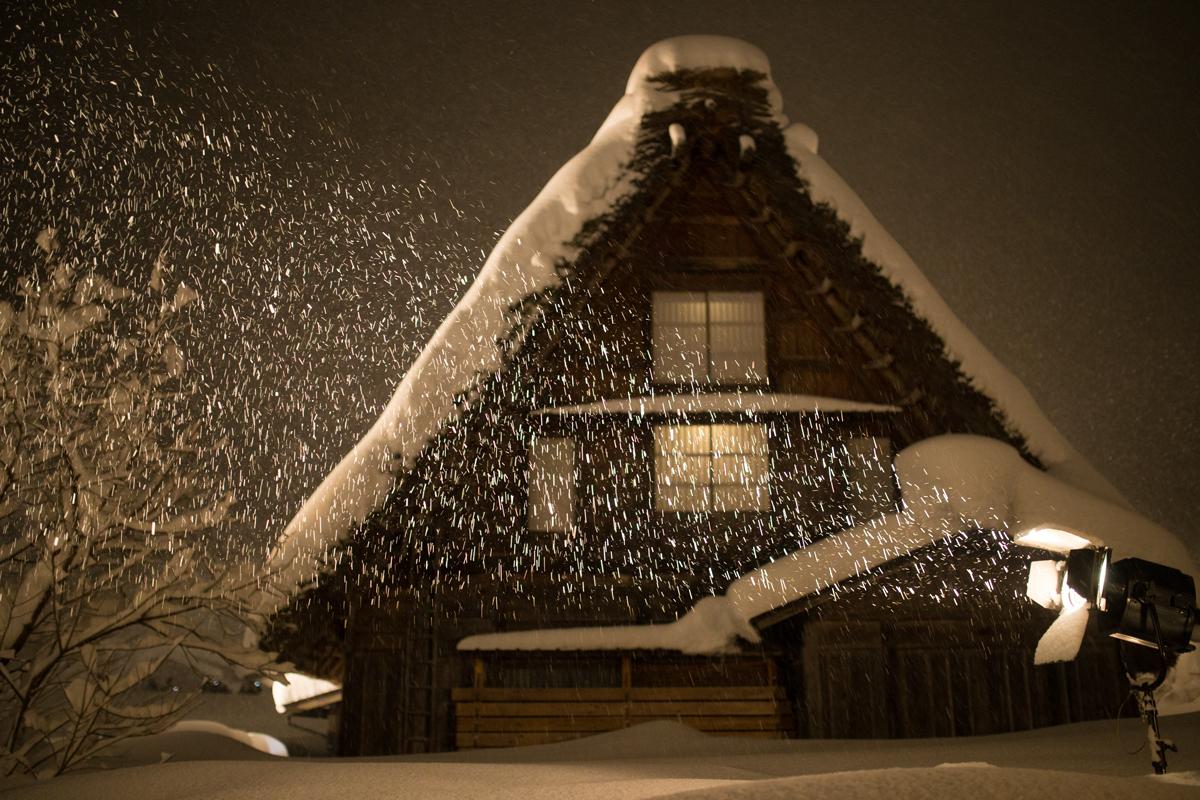 Light-up Shirakawa-go while Snowing