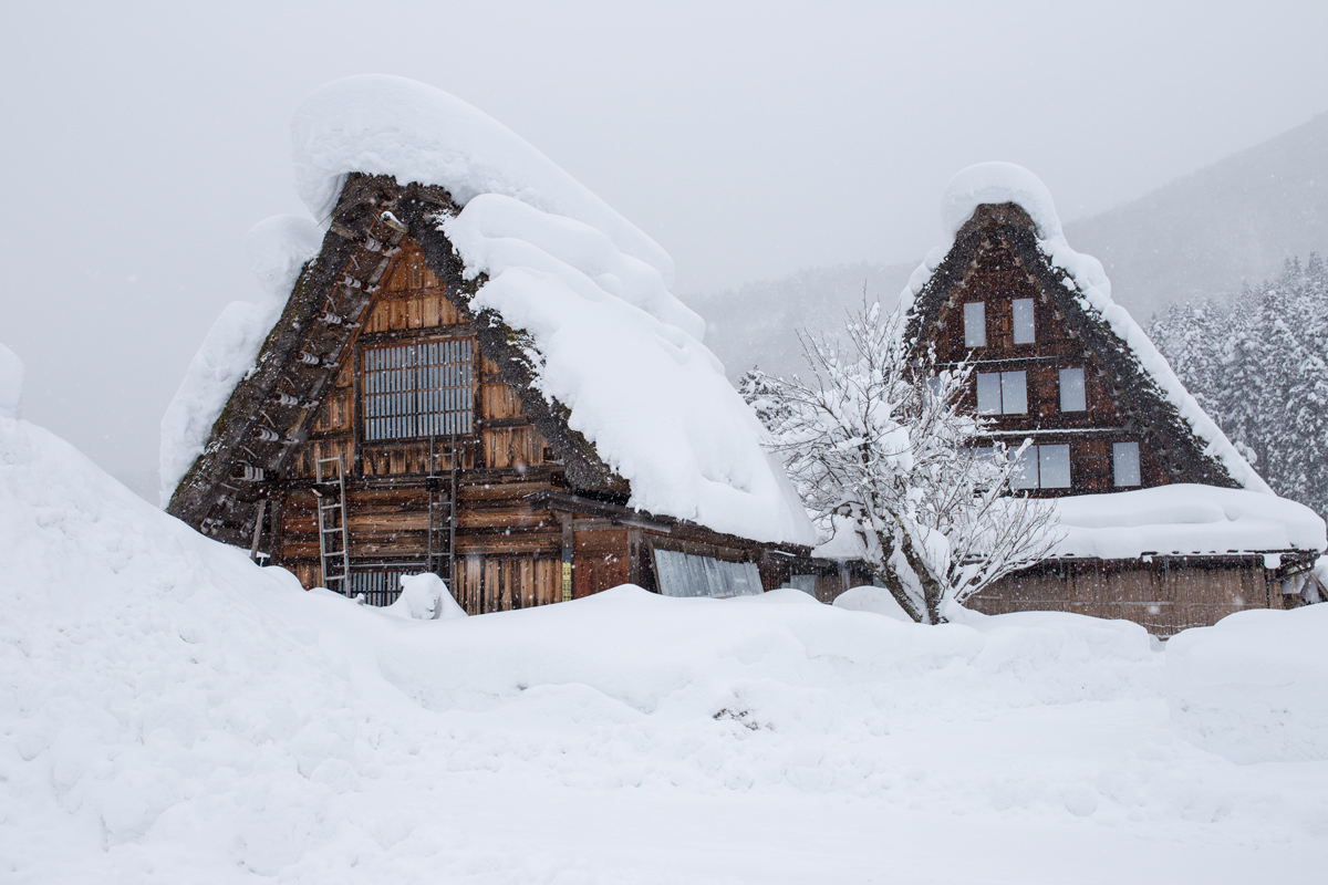 Shirakawa-go Buildings in Winter