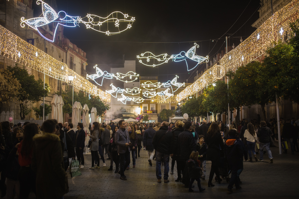 Illumination at Plaza del Salvador Seville