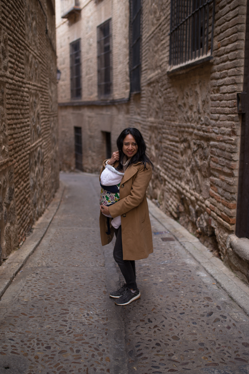 Walking narrow path in Toledo with my baby